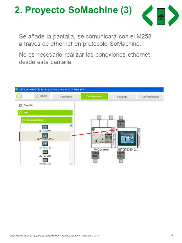 2. Proyecto SoMachine (3) Se añade la pantalla, se comunicará con el M258 a través de ethernet en protocolo SoMachine.