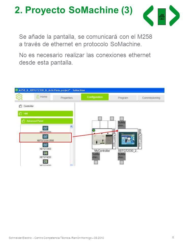 2. Proyecto SoMachine (3)Se añade la pantalla, se comunicará con el M258 a través de ethernet en protocolo SoMachine.