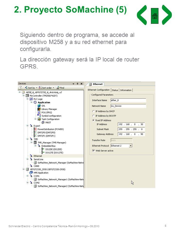 2. Proyecto SoMachine (5) Siguiendo dentro de programa, se accede al dispositivo M258 y a su red ethernet para configurarla.