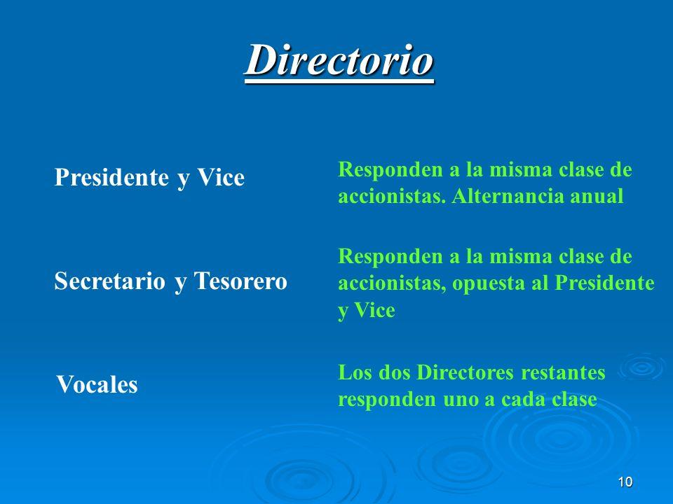 Directorio Presidente y Vice Secretario y Tesorero Vocales