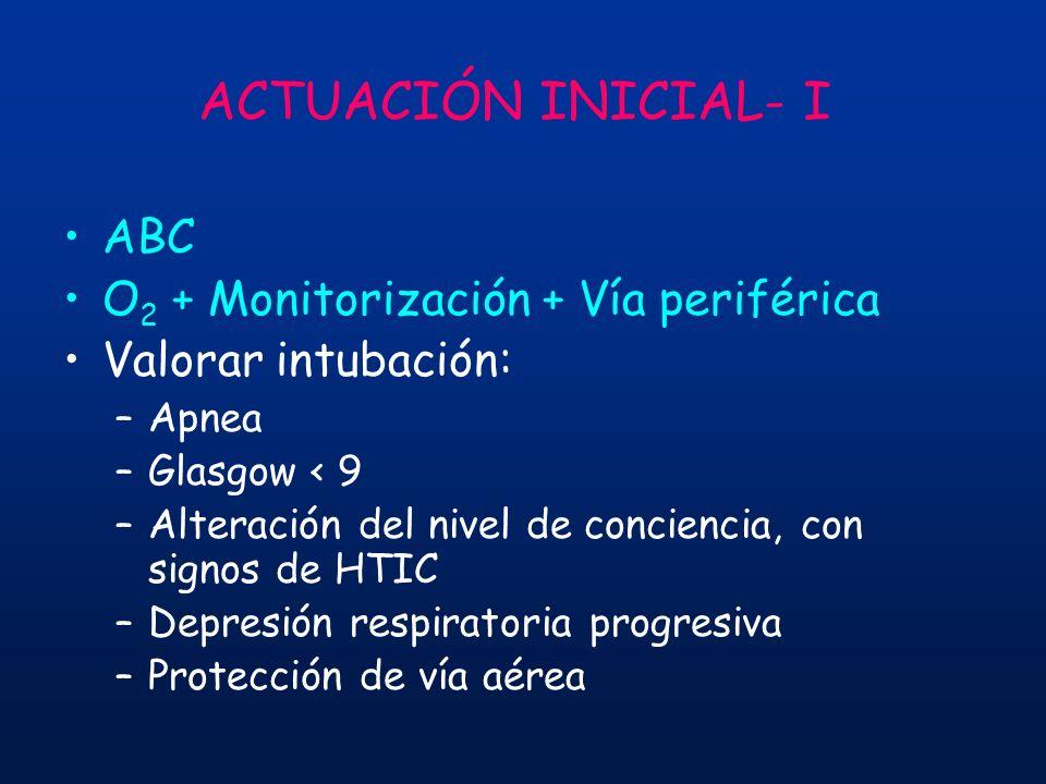 ACTUACIÓN INICIAL- I ABC O2 + Monitorización + Vía periférica