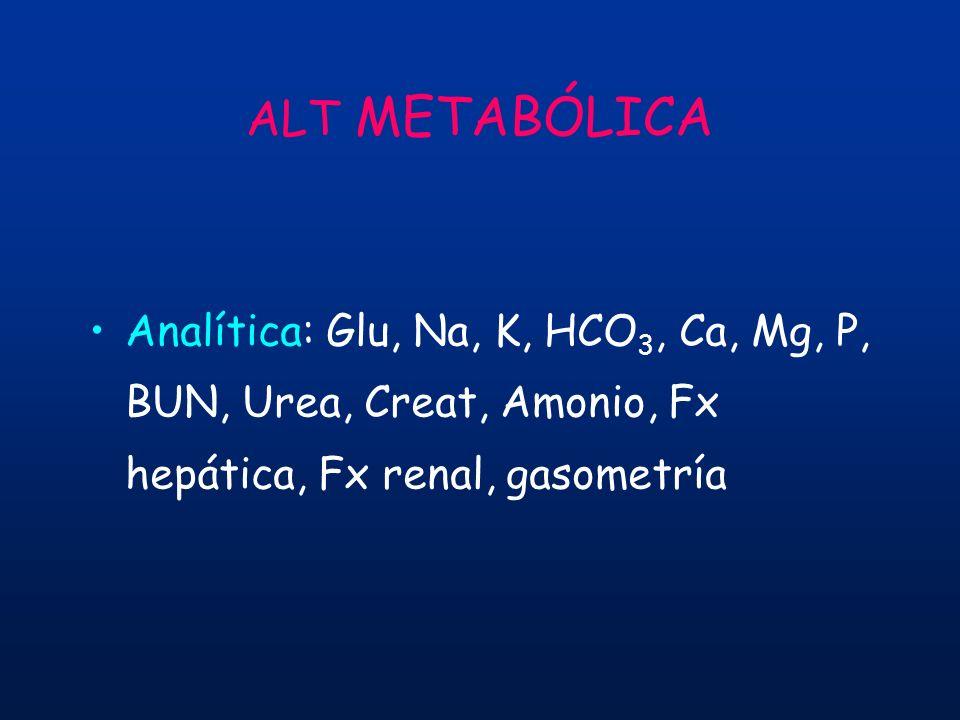 ALT METABÓLICA Analítica: Glu, Na, K, HCO3, Ca, Mg, P, BUN, Urea, Creat, Amonio, Fx hepática, Fx renal, gasometría.