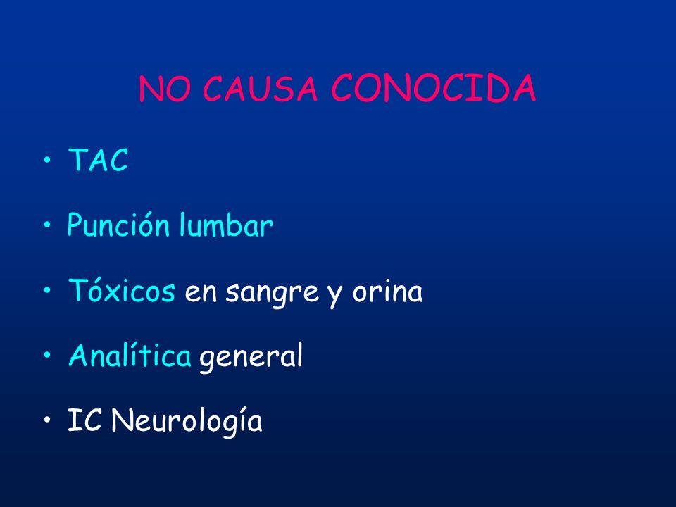 NO CAUSA CONOCIDA TAC Punción lumbar Tóxicos en sangre y orina