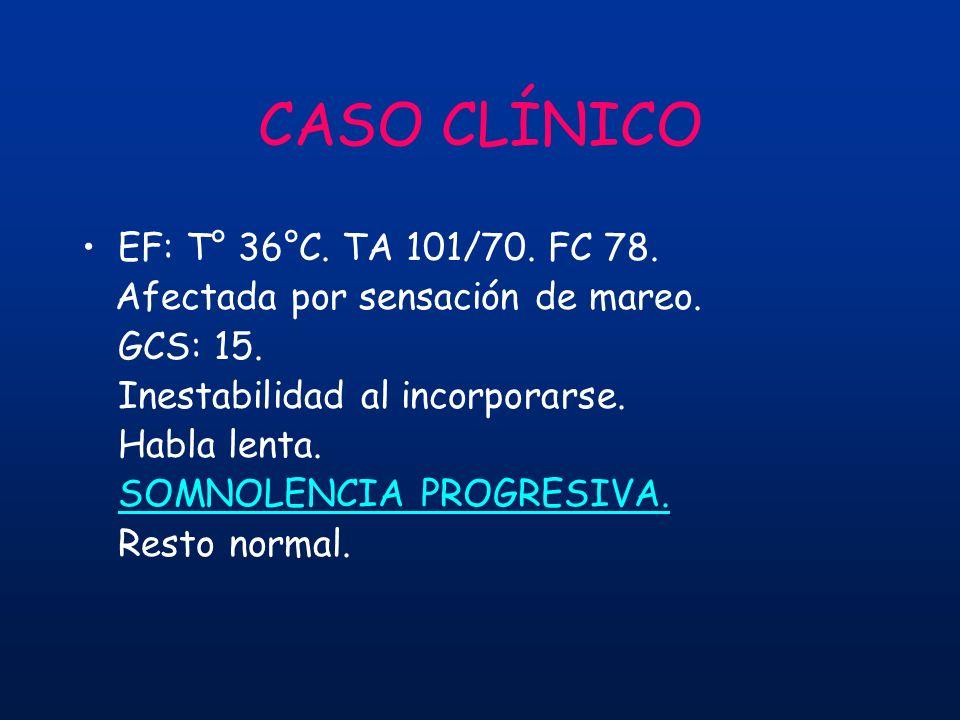CASO CLÍNICO EF: T° 36°C. TA 101/70. FC 78.