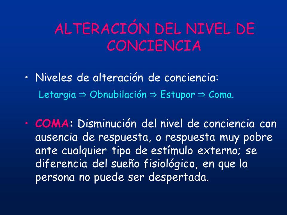 ALTERACIÓN DEL NIVEL DE CONCIENCIA