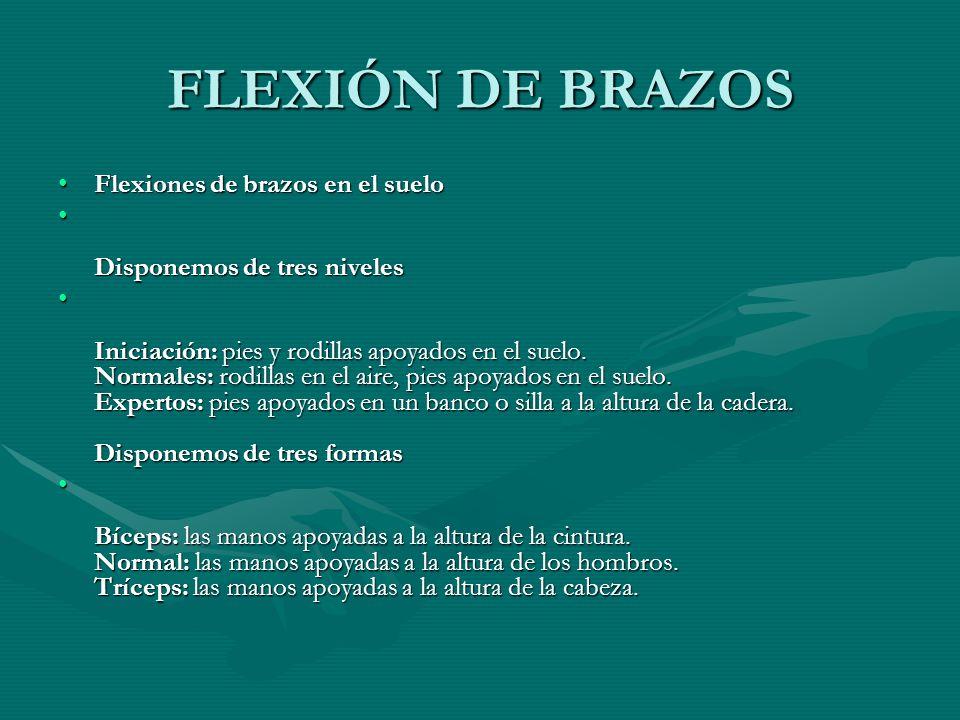 FLEXIÓN DE BRAZOS Flexiones de brazos en el suelo