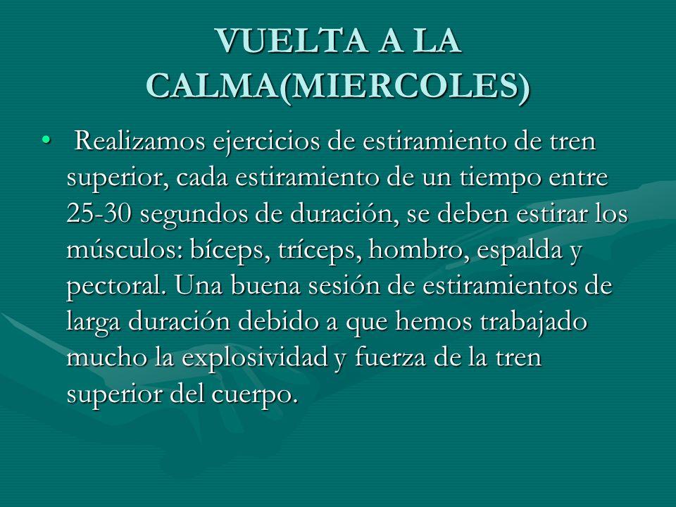 VUELTA A LA CALMA(MIERCOLES)