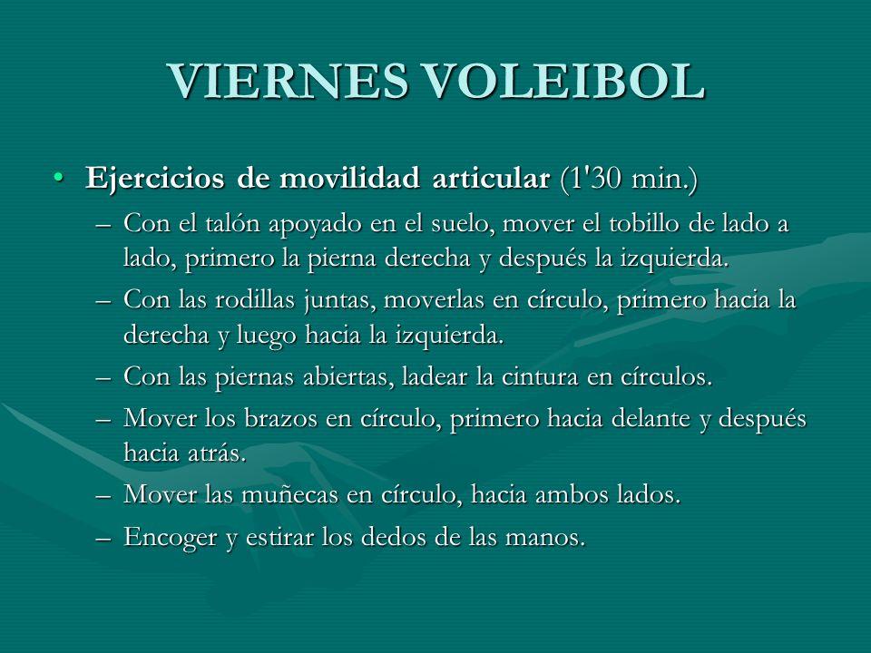 VIERNES VOLEIBOL Ejercicios de movilidad articular (1 30 min.)