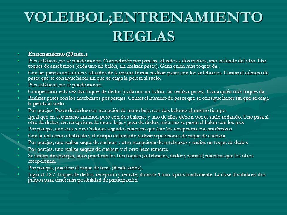 VOLEIBOL;ENTRENAMIENTO REGLAS