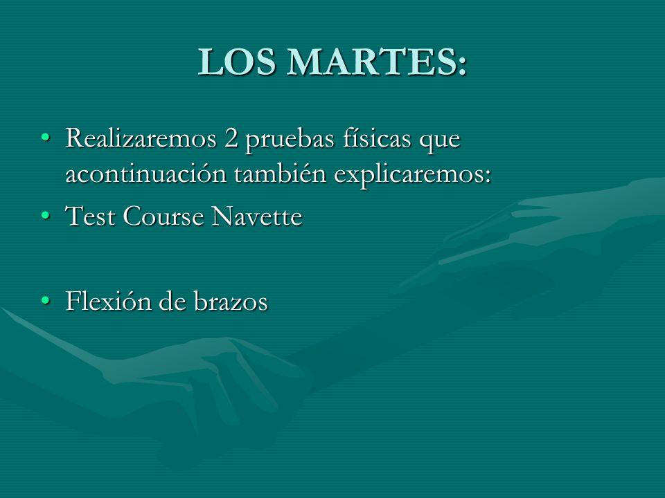LOS MARTES: Realizaremos 2 pruebas físicas que acontinuación también explicaremos: Test Course Navette.