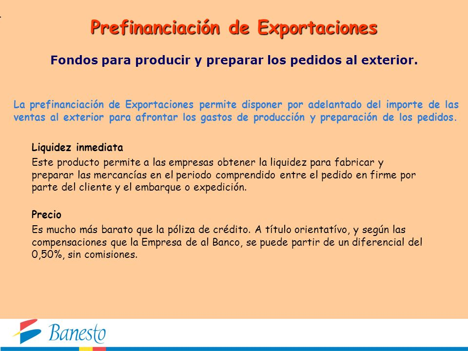 Prefinanciación de Exportaciones