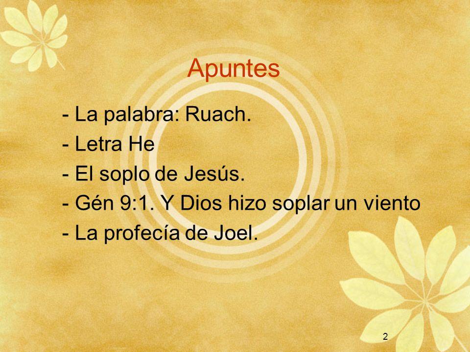 Apuntes - La palabra: Ruach. - Letra He - El soplo de Jesús.
