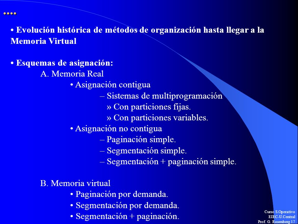 ....• Evolución histórica de métodos de organización hasta llegar a la Memoria Virtual. • Esquemas de asignación:
