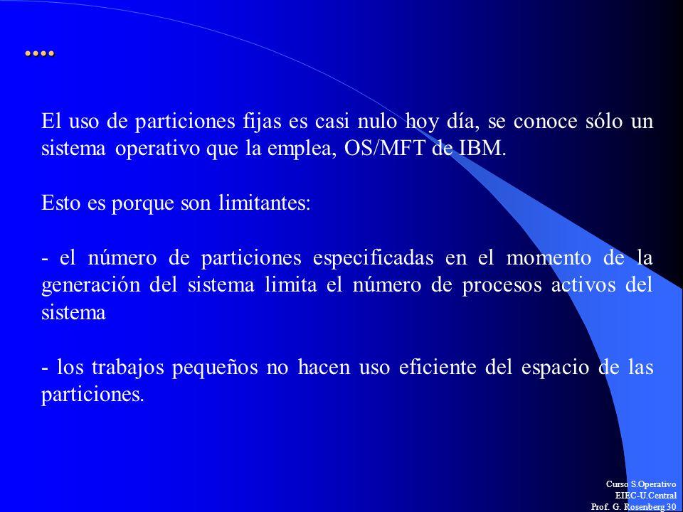 ....El uso de particiones fijas es casi nulo hoy día, se conoce sólo un sistema operativo que la emplea, OS/MFT de IBM.