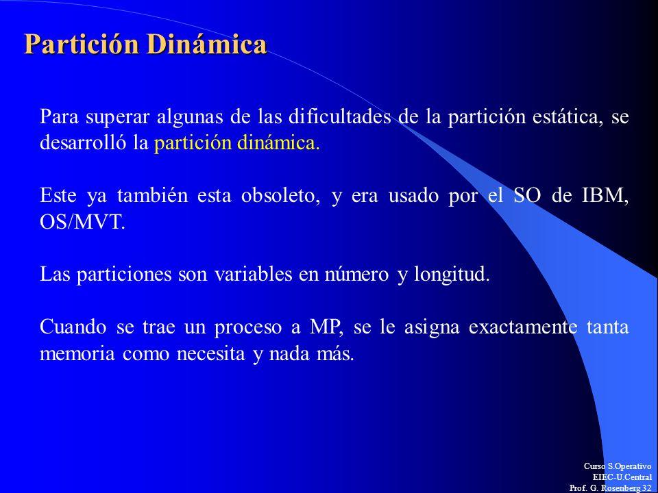 Partición DinámicaPara superar algunas de las dificultades de la partición estática, se desarrolló la partición dinámica.