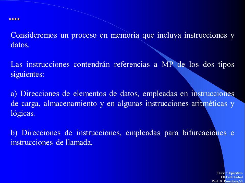 ....Consideremos un proceso en memoria que incluya instrucciones y datos. Las instrucciones contendrán referencias a MP de los dos tipos siguientes: