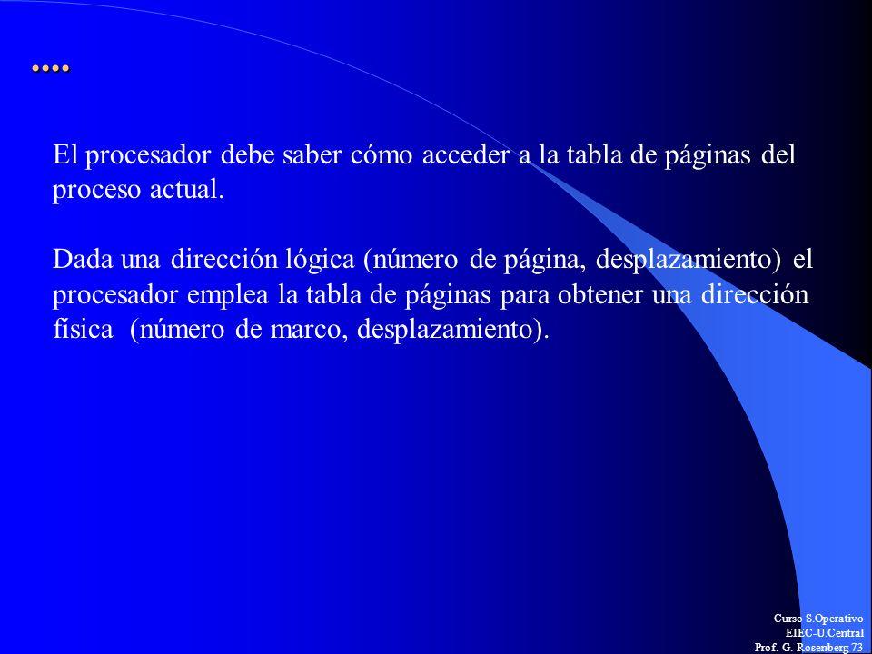 ....El procesador debe saber cómo acceder a la tabla de páginas del proceso actual.