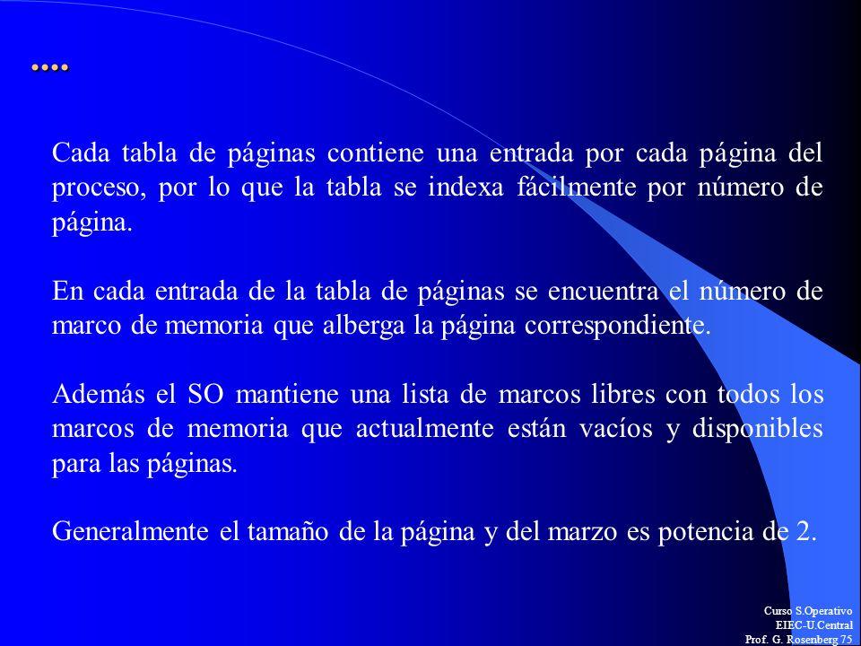 ....Cada tabla de páginas contiene una entrada por cada página del proceso, por lo que la tabla se indexa fácilmente por número de página.