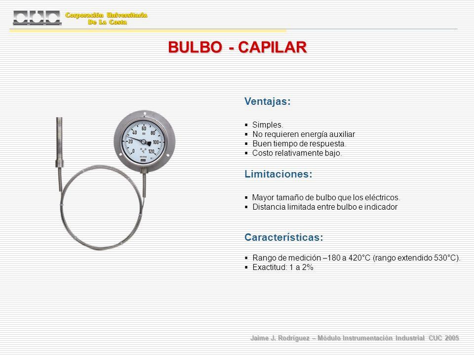 BULBO - CAPILAR Ventajas: Limitaciones: Características: Simples.