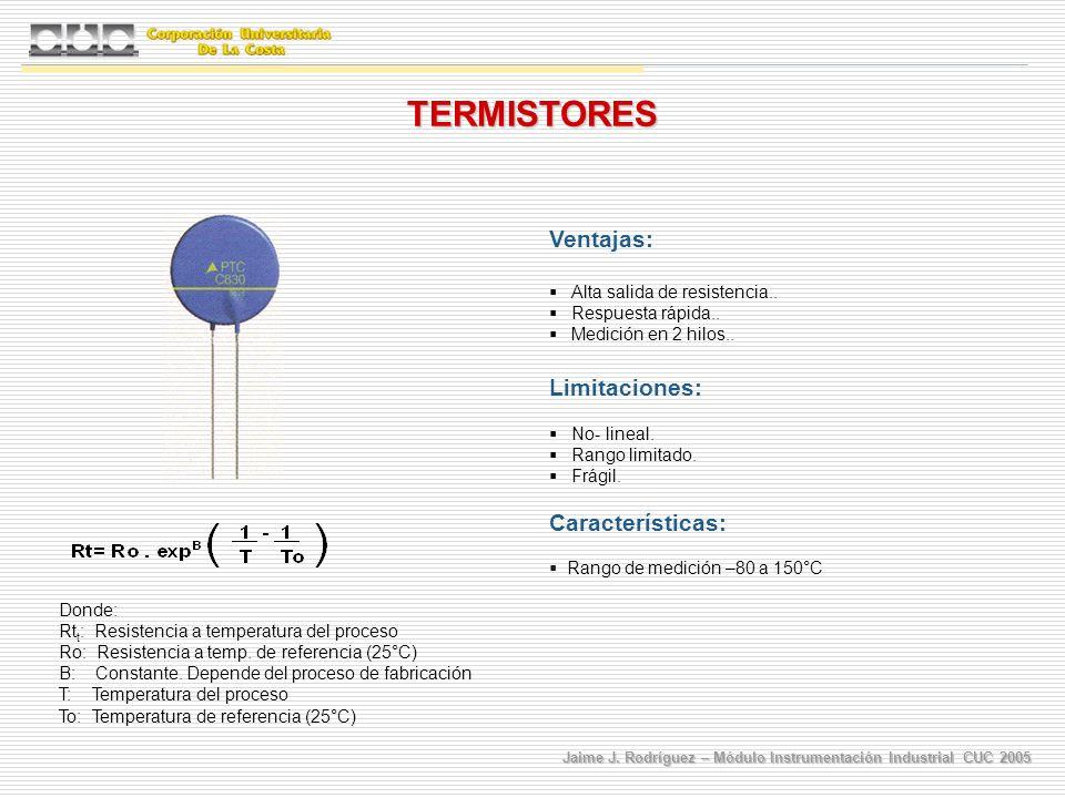 TERMISTORES Ventajas: Limitaciones: Características: