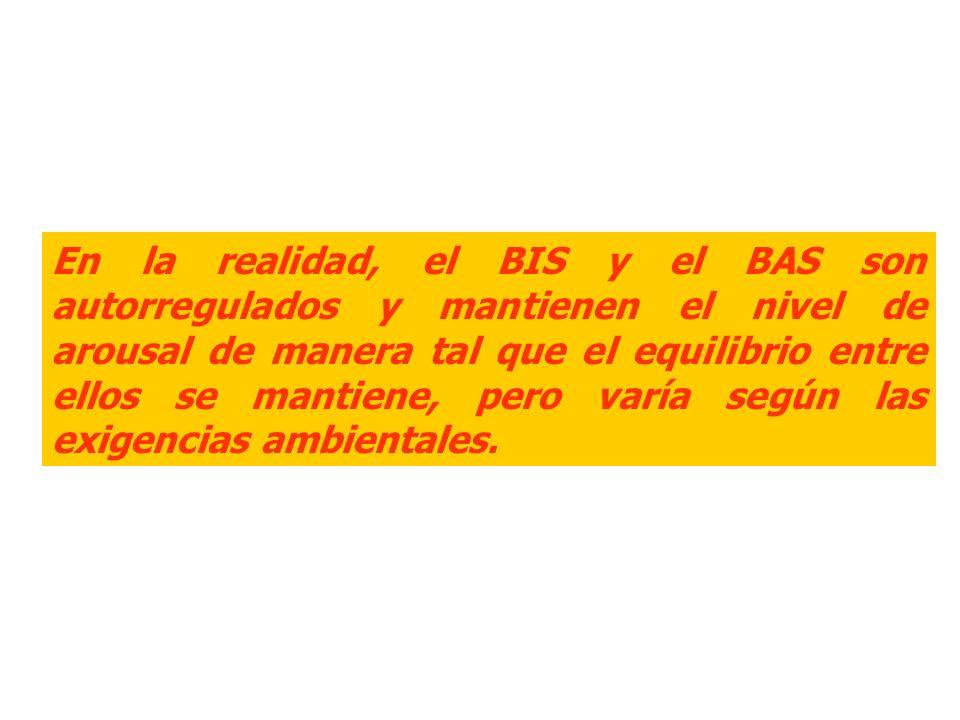 En la realidad, el BIS y el BAS son autorregulados y mantienen el nivel de arousal de manera tal que el equilibrio entre ellos se mantiene, pero varía según las exigencias ambientales.
