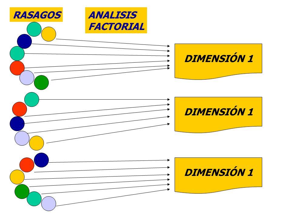RASAGOS ANALISIS FACTORIAL DIMENSIÓN 1 DIMENSIÓN 1 DIMENSIÓN 1