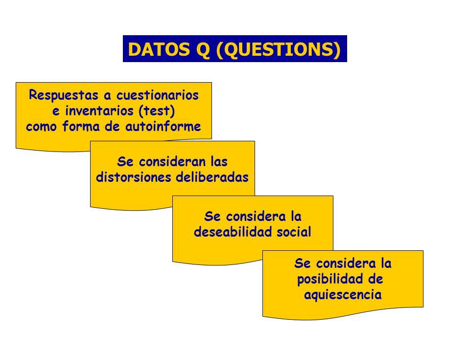 DATOS Q (QUESTIONS) Respuestas a cuestionarios e inventarios (test)