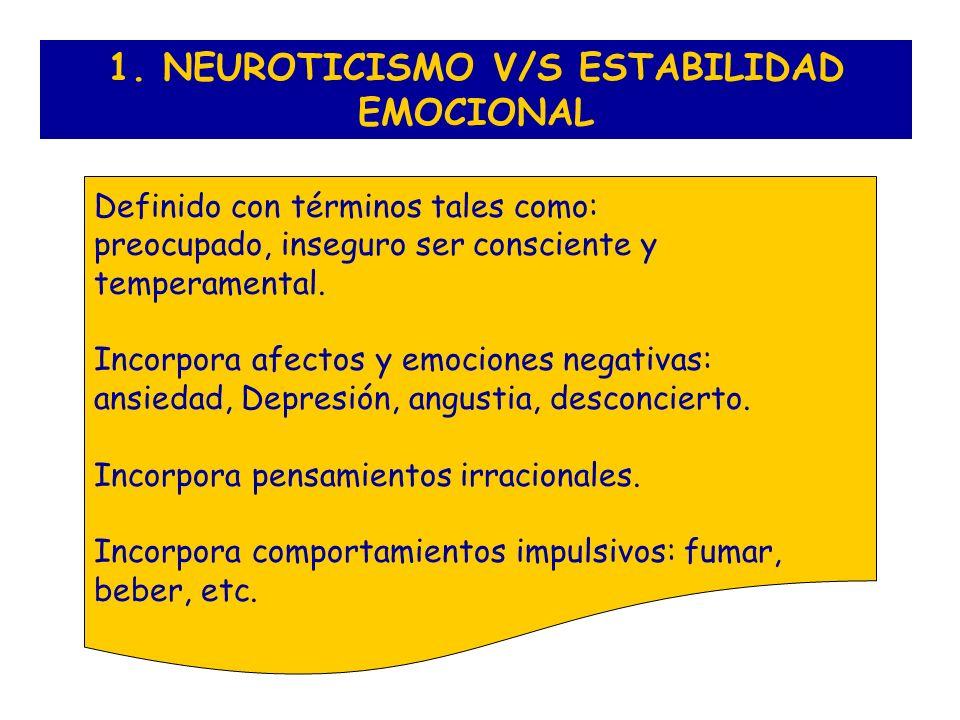 1. NEUROTICISMO V/S ESTABILIDAD EMOCIONAL