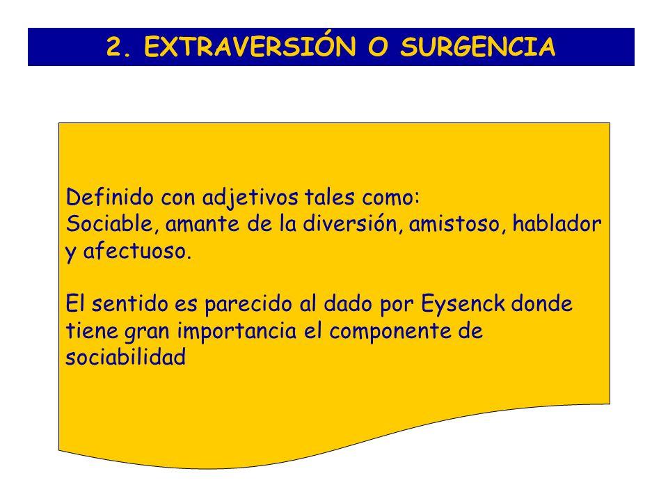 2. EXTRAVERSIÓN O SURGENCIA