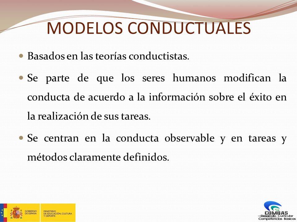 MODELOS CONDUCTUALES Basados en las teorías conductistas.
