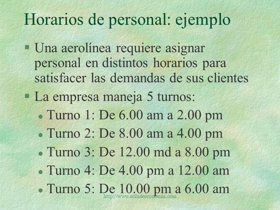 Horarios de personal: ejemplo