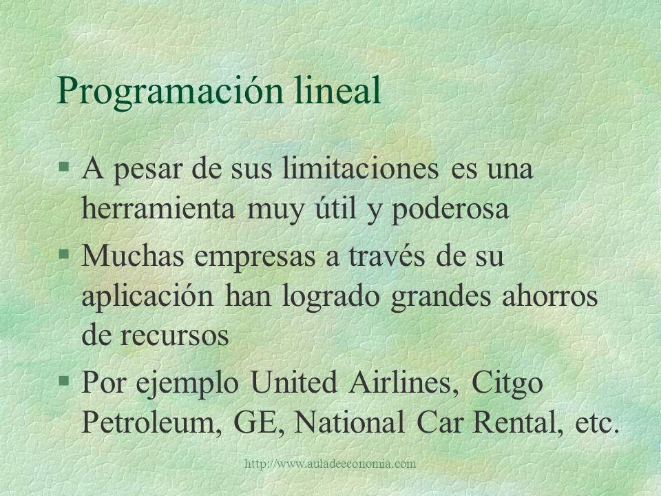Programación lineal A pesar de sus limitaciones es una herramienta muy útil y poderosa.