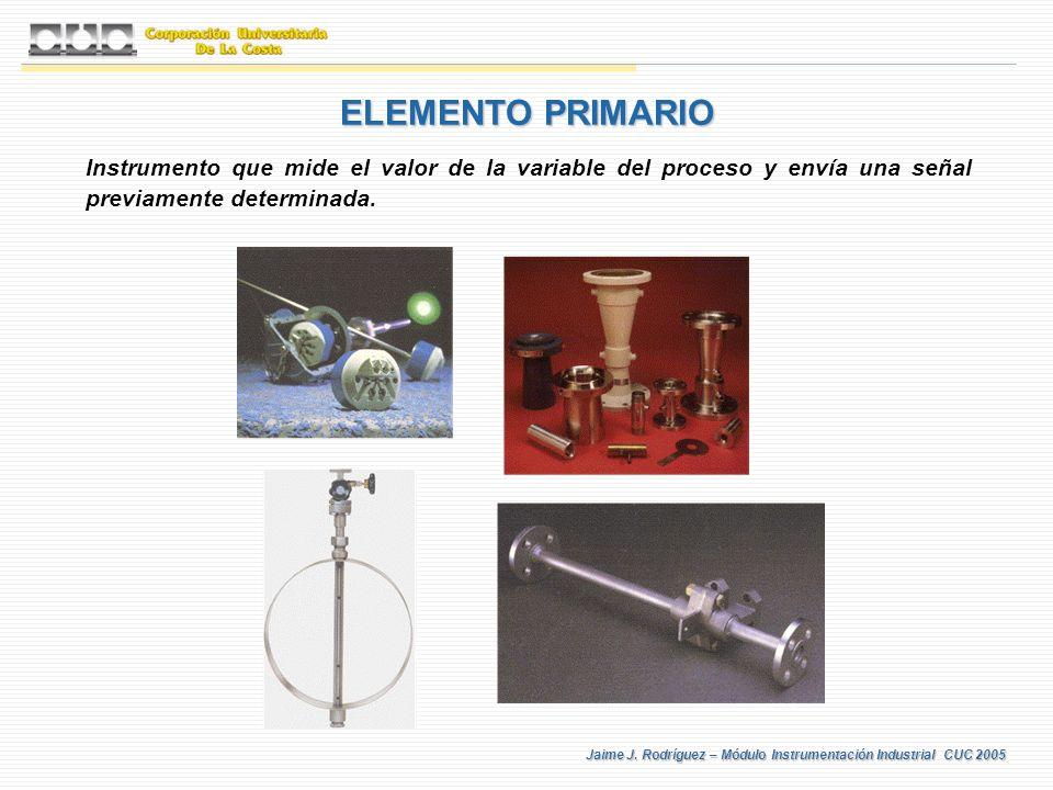 ELEMENTO PRIMARIO Instrumento que mide el valor de la variable del proceso y envía una señal previamente determinada.