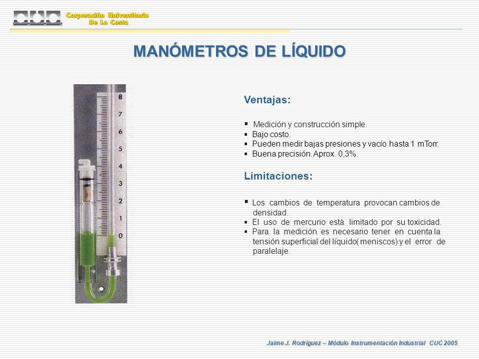 MANÓMETROS DE LÍQUIDO Ventajas: Limitaciones: