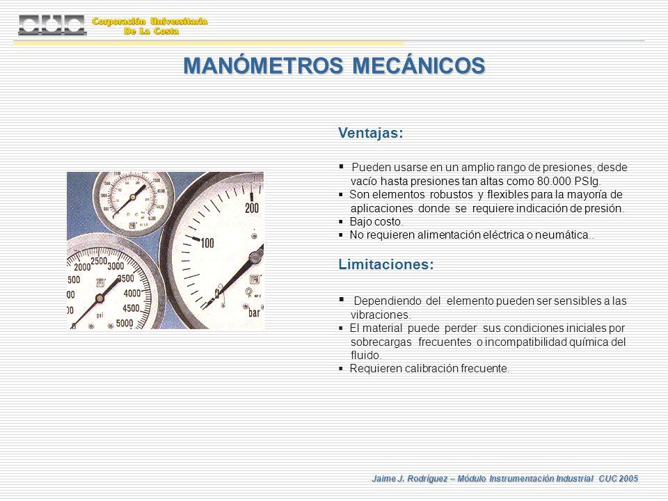 MANÓMETROS MECÁNICOS Ventajas: Limitaciones: