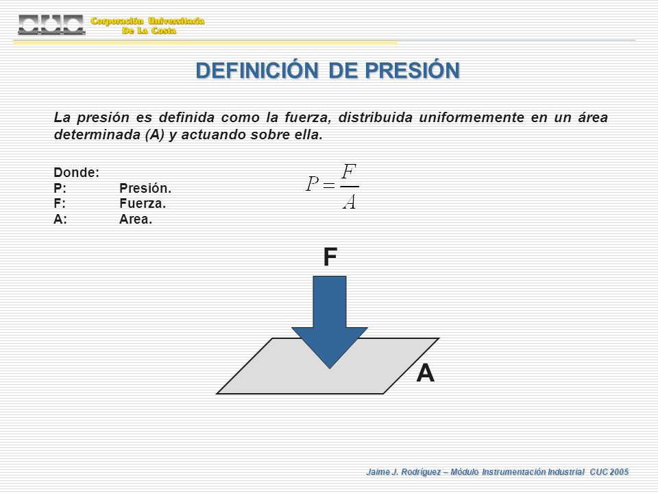 F A DEFINICIÓN DE PRESIÓN