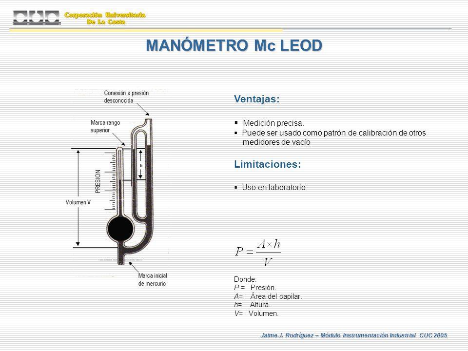 MANÓMETRO Mc LEOD Ventajas: Limitaciones: Medición precisa.