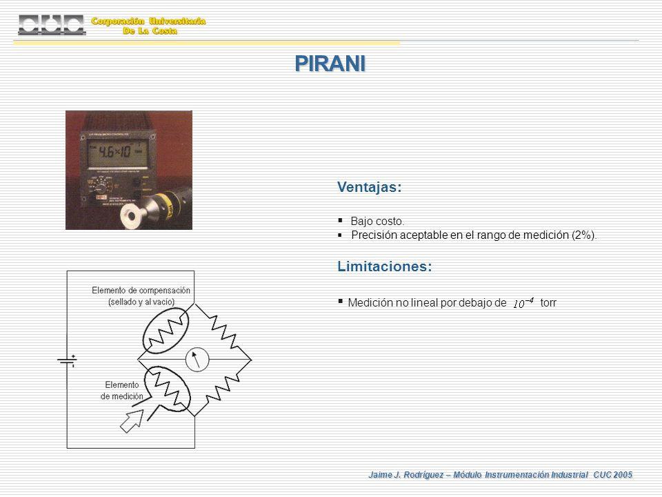 PIRANI Ventajas: Limitaciones: Medición no lineal por debajo de torr