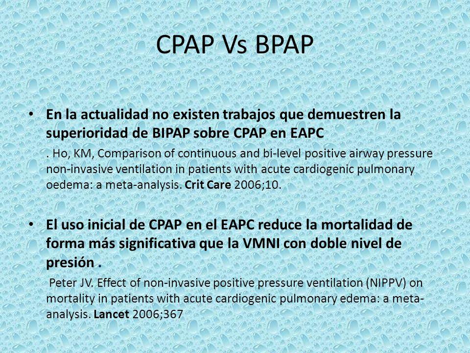 CPAP Vs BPAPEn la actualidad no existen trabajos que demuestren la superioridad de BIPAP sobre CPAP en EAPC.