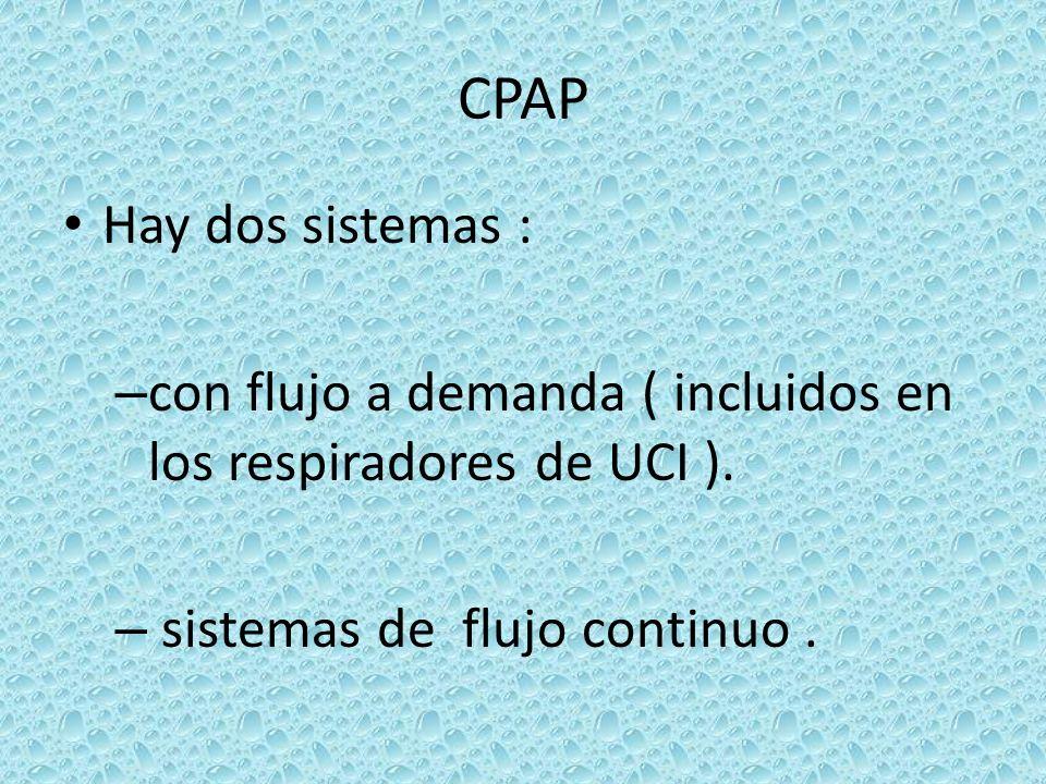 CPAPHay dos sistemas : con flujo a demanda ( incluidos en los respiradores de UCI ).