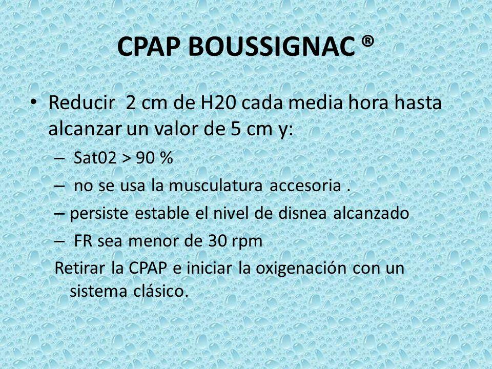 CPAP BOUSSIGNAC ®Reducir 2 cm de H20 cada media hora hasta alcanzar un valor de 5 cm y: Sat02 > 90 %