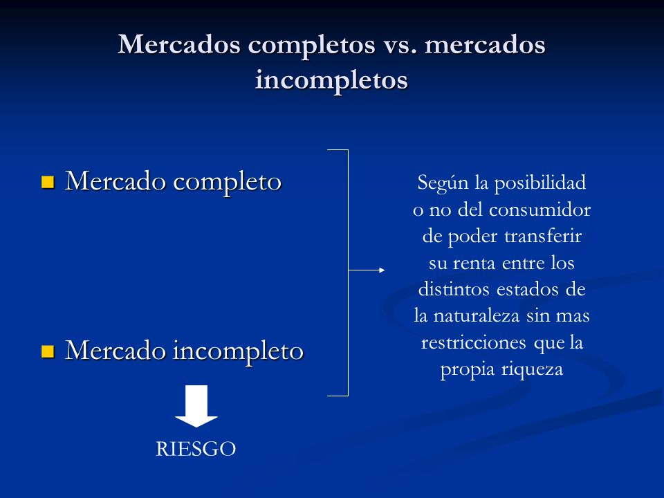 Mercados completos vs. mercados incompletos