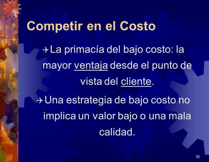 Competir en el Costo La primacía del bajo costo: la mayor ventaja desde el punto de vista del cliente.