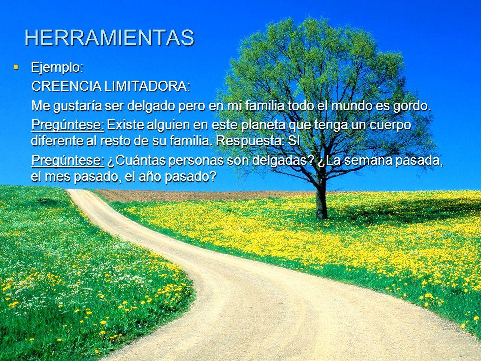 HERRAMIENTAS Ejemplo: CREENCIA LIMITADORA: