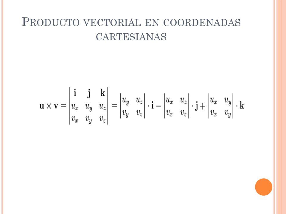 Producto vectorial en coordenadas cartesianas