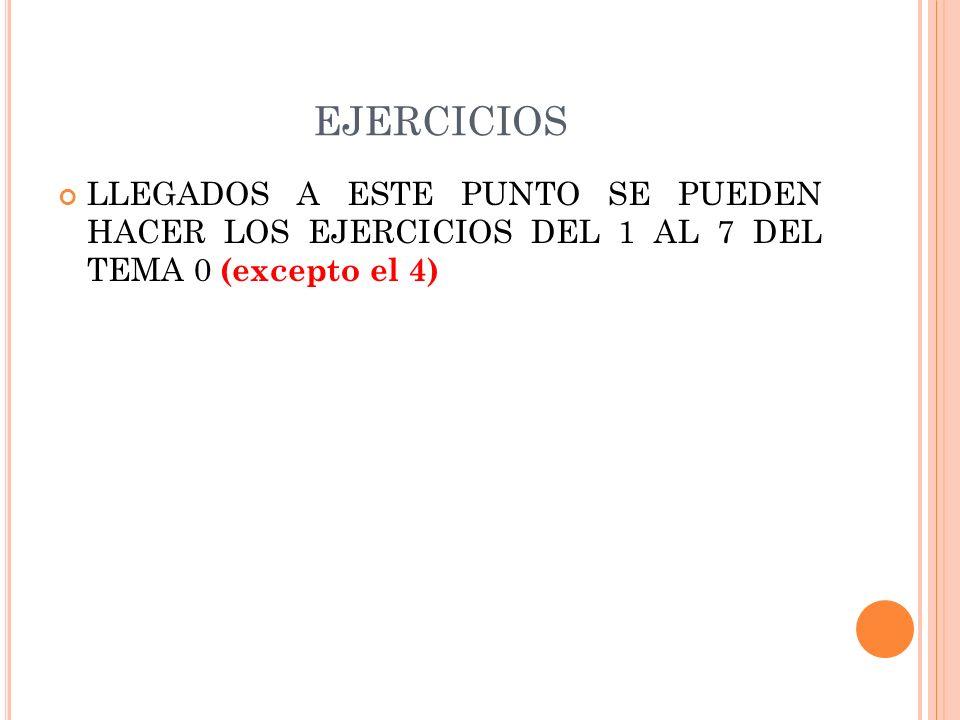 EJERCICIOS LLEGADOS A ESTE PUNTO SE PUEDEN HACER LOS EJERCICIOS DEL 1 AL 7 DEL TEMA 0 (excepto el 4)