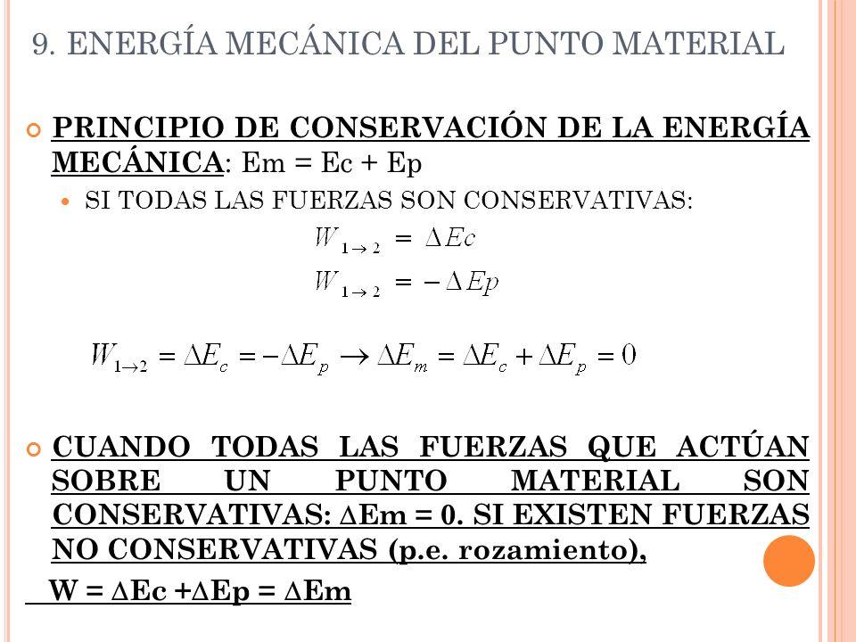 9. ENERGÍA MECÁNICA DEL PUNTO MATERIAL