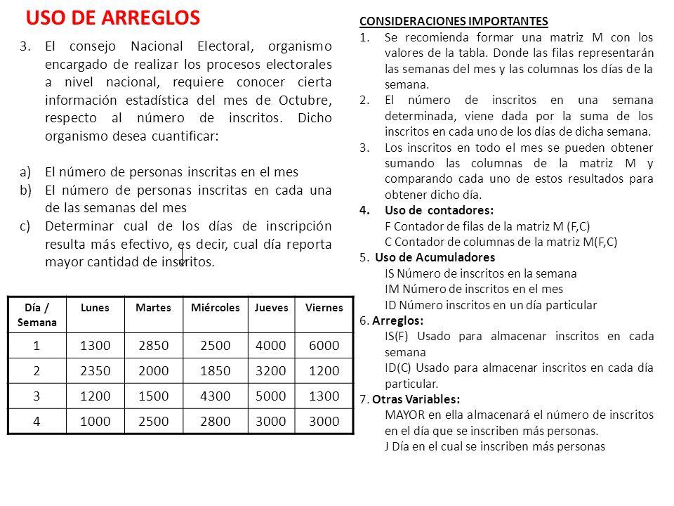 USO DE ARREGLOS CONSIDERACIONES IMPORTANTES.