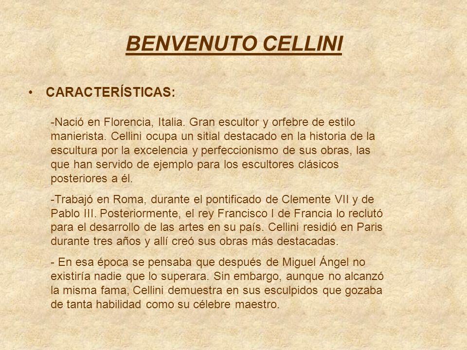 BENVENUTO CELLINI CARACTERÍSTICAS: