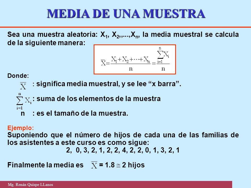 MEDIA DE UNA MUESTRA Sea una muestra aleatoria: X1, X2,,...,Xn, la media muestral se calcula de la siguiente manera: